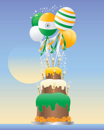 india food: an illustration of an india celebration cake with three tiers striped candles and cream frosting in the colors of the national flag with balloons and sparkles on a blue background Illustration