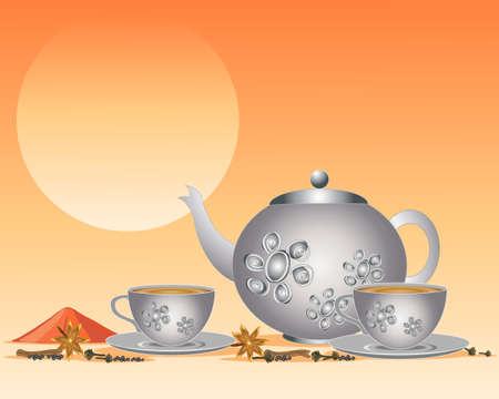 an illustration of masala chai in a silver teapot with matching cups and saucers under a hot sun with spices including star anise and cloves Vector