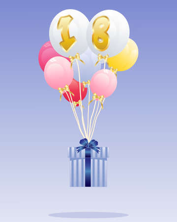 gold age: an illustration of a group of colorful balloons with the number 18 in gold floating with a decoratively wrapped birthday present on a blue background with space for text Illustration