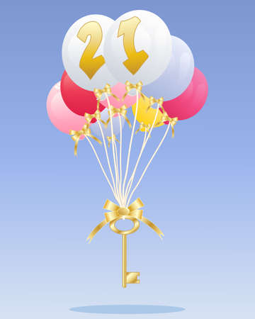 an illustration of a group of colorful balloons with the number 21 in gold floating with a golden key