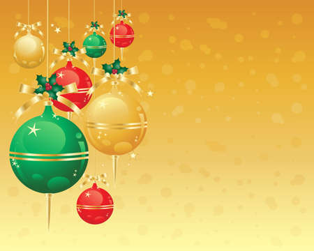 an illustration of metallic red gold and green decorated christmas bauble ornaments displayed on a golden snowy abstract background Stock Vector - 15629193