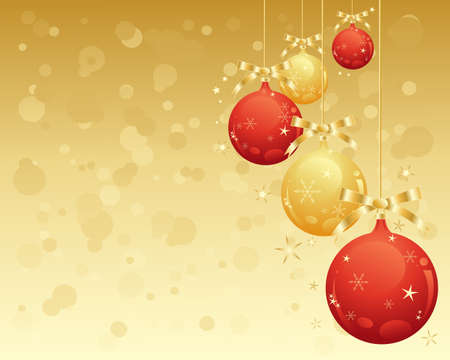 an illustration of metallic red and gold christmas decorative baubles with snowflke and stars with an abstact golden background Stock Vector - 15629194