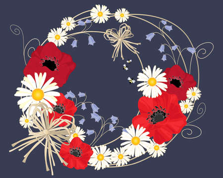an illustration of an abstract flower design with daisies poppies and harebells arranged in a circle on a dark background