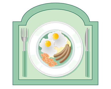 baked beans: an illustration of a diner sign with an image of fried eggs sausages and baked beans on a plate with a knife and fork