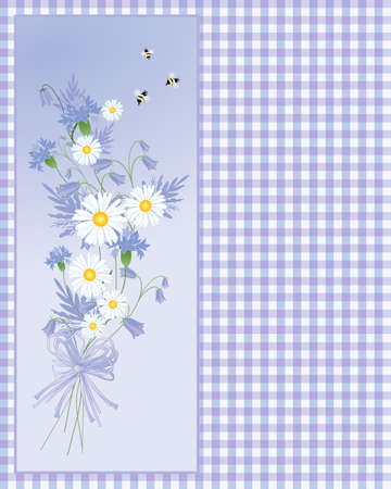 posy: an illustration of a posy of cornflowers and daisies with bees on a purple gingham background