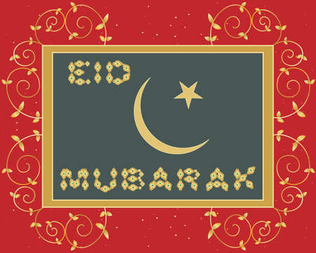 an illustration of an eid mubarak greeting card with golden letters islam symbol stars and metallic leaves and swirls on a red background Vector