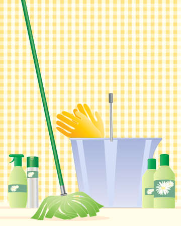 cleaning equipment: an illustration of a modern mop with a plastic bucket rubber gloves and cleaning products with a light yellow gingham background