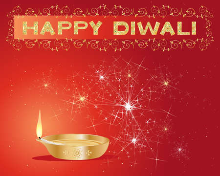 an illustration of a diwali lamp lit up with sparklers and stars and a decorative happy diwali sign on a red background Vector