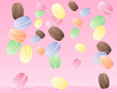tumbling: an illustration of delicious colorful macaroons tumbling from above on a candy pink background Illustration