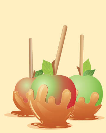 toffee: an illustration of three delicious toffee apples