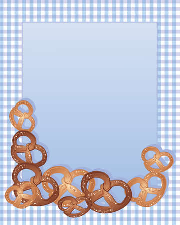 an illustration of delicious crispy pretzels with salty sprinkles arranged around a note card on a blue and purple gingham background Stock Vector - 15808059
