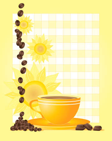 refreshments: an illustration of a yellow cup and saucer with sunflower backdrop coffee beans and chocolate squares on a bright yellow background