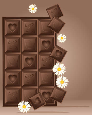 an illustration of a block of chocolate with three different designs and daisies on a brown background with space for text Stock Vector - 15842061