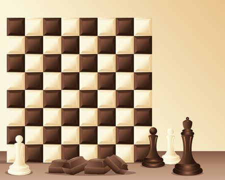 an illustration of a dark and white chocolate chess board with chocolate pieces on a cream background with space for text Stock Vector - 15865914