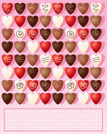 candy hearts: an illustration of milk dark white and foil wrapped chocolate valentine hearts on a candy pink background with space for text Illustration