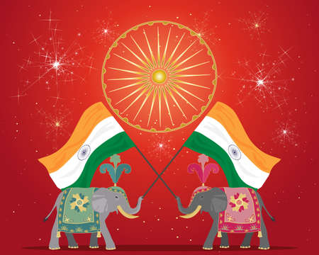 an illustration of an india festival background with ceremomial elephants flag symbols and fireworks under stars with red backdrop Stock Vector - 15914046