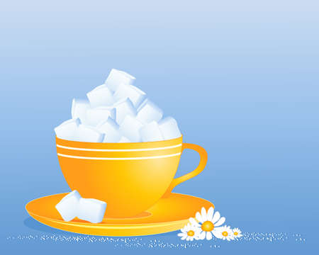 granules: an illustration of a bright yellow cup and saucer full of white sugar cubes with granules and daisy decoration on a blue background