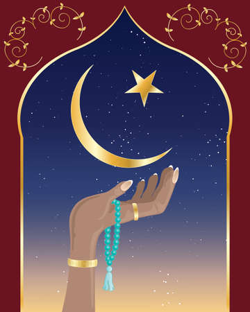 islam moon: an illustration of a hand with asian prayer beads under the crescent moon and star of islam and decorative arch with night sky