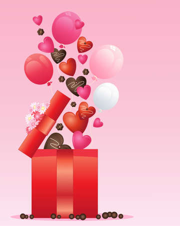 an illustration of a red foil wrapped open gift box with decorated hearts balloons and chocolate flowers