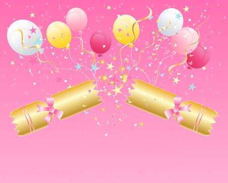 galletas integrales: una ilustración de una galleta de la Navidad romperse abierto con serpentinas estrellas globos y confeti sobre fondo rosa