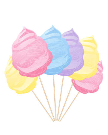 spun sugar: an abstract illustration of a row of colorful blue yellow pink and purple cotton candy on sticks isolated on a white background