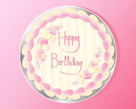 frosting: an illustration of the top of a birthday cake with sugar roses and daisies colorful frosting and the words happy birthday written in pink icing on a silver cake board