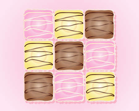 an illustration of french fancy cakes in pink yellow and chocolate icing with paper bun cases on a pink background Vector