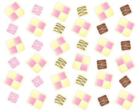 an illustration of an abstract cake design with battenburg slices and french fancies in a fun layout on a white background Vector