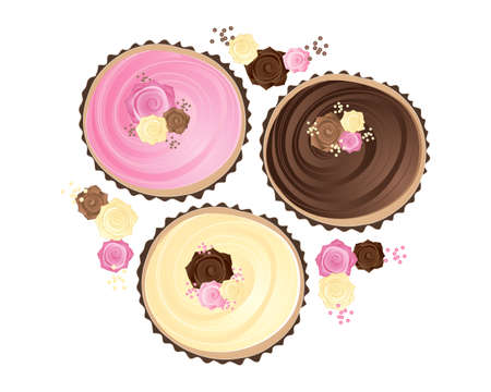 frosting: an illustration of three cupcakes decorated in pink brown and cream colors with swirly frosting and sugar roses in paper linings isolated on a white background