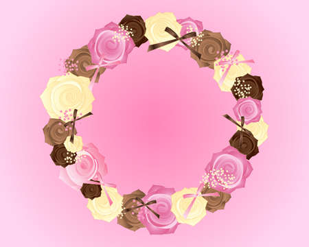 pink ribbons: an illustration of a circular posy of pink brown and cream roses with satin bows on a candy pink background Illustration