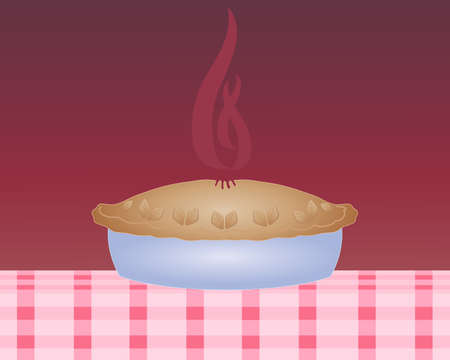 an illustration of a steaming hot pie in a blue dish with a thick crust on a pink checked tablecloth