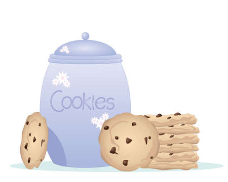 an illustration of a blue pot cookie jar and lid with a stack of delicious chocolate chip cookies at the side on a white background Illustration