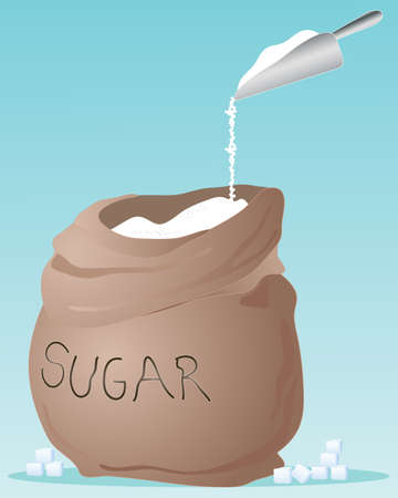 sugar: an illustration of a brown sack full of sugar with metal scoop on a jade green background and space for text
