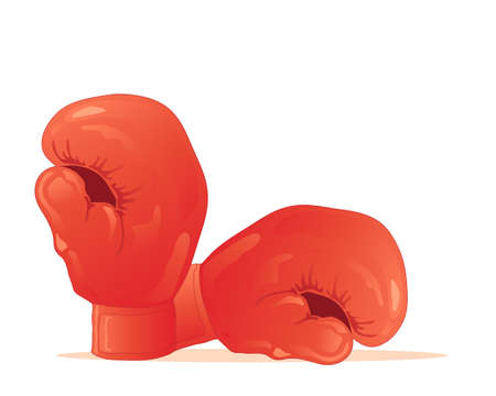red gloves: an illustration of a pair of traditional red boxing gloves isolated on a white background