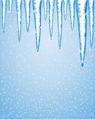 water frozen: an illustration of a row of icicles in winter with sparkles on a blue snowy background and space for text