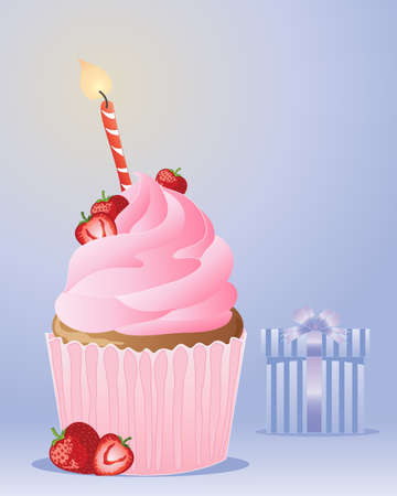an illustration of a strawberry birthday cupcake with a striped candle and flame on a blue background with wrapped gift Vector