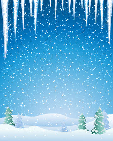 capped: an illustration of a cold winter landscape with snow capped fir trees icicles and a night sky