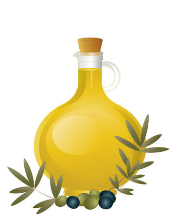 stopper: an illustration of a glass jug of olive oil with cork stopper and an arrangement of green and black olives with foliage isolated on a white background Illustration