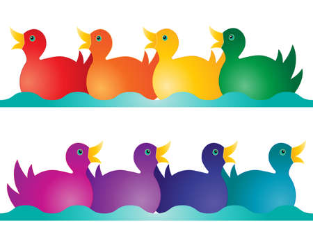 animal time: an illustration of two rows of toy ducks in rainbow colors on an abstract blue wave isolated on a white background
