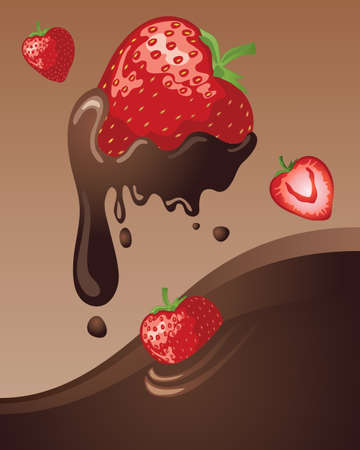 an illustration of juicy ripe strawberries tumbling in to a chocolate lake with a caramel background Vector