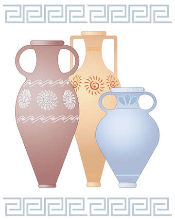 urns: an illustration of three decorative greek urns in different shapes and colors with designs isolated on a white background with space for text Illustration
