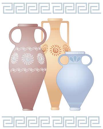 greek pot: un'illustrazione di tre urne decorative greco in diverse forme e colori con i disegni isolato su uno sfondo bianco con spazio per il testo