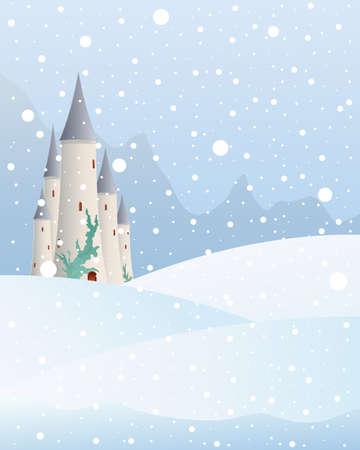 snow falling: l'illustrazione di un castello delle fiabe in un paesaggio montano di Natale con la neve che cade su un freddo giorno d'inverno