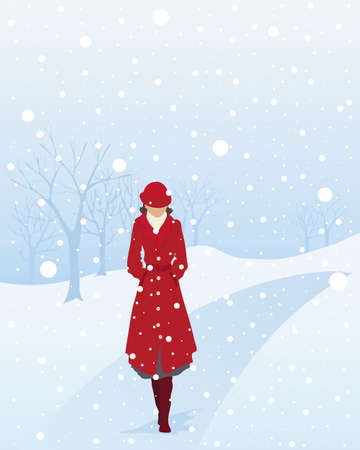 walking path: an illustration of a woman in a red coat and hat walking along a tree lined path in a park in a snow shower under an icy cold sky