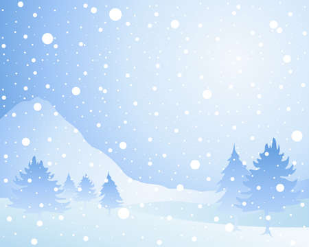 landscape: an illustration of a cold winter seasonal christmas landscape with misty fir trees in a snow shower under an icy blue sky