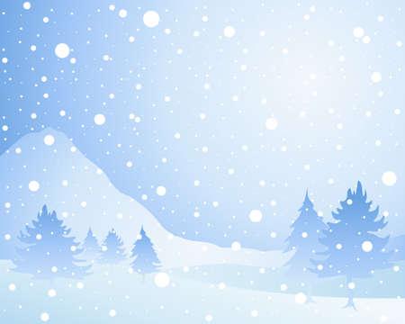 neve montagne: l'illustrazione di un paesaggio freddo stagionale invernale di Natale con abeti nebbiosa in una doccia di neve sotto un cielo blu ghiaccio