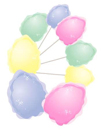 cotton candy: una ilustraci�n de algod�n de az�car de colores en un dise�o abstracto aislado en un fondo blanco