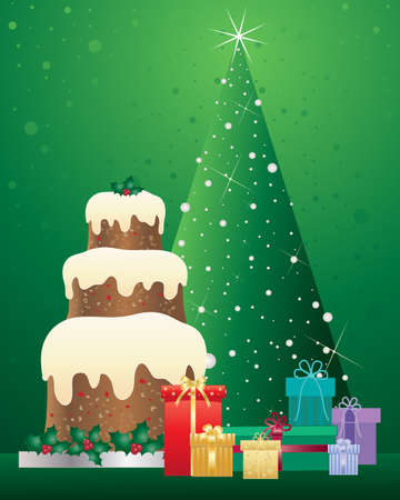 tiers: an illustration of a christmas cake with three tiers decorated with holly standing beside foil wrapped gifts and a green tree with sparkling lights on a green background