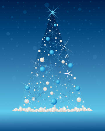 decorated christmas tree: an illustration of an illuminated christmas tree in abstract form decorated with snowflakes sparkles and metallic baubles on a dark blue snowy background