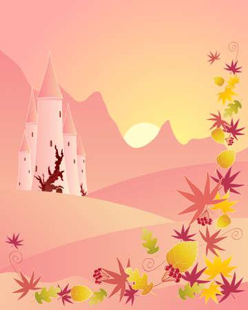 castello fiabesco: l'illustrazione di un castello delle fiabe in un paesaggio di montagna autunnale con foglie colorate sparse in primo piano al tramonto